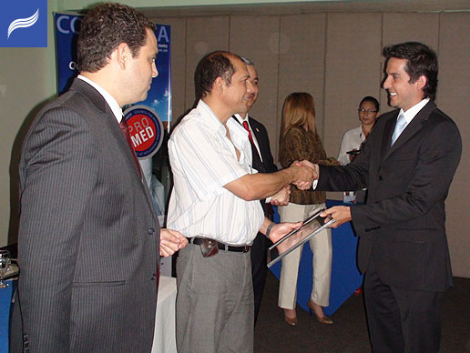 Dr.Luis G. Obando with Minister Carlos Ricardo and PROMED representatives.